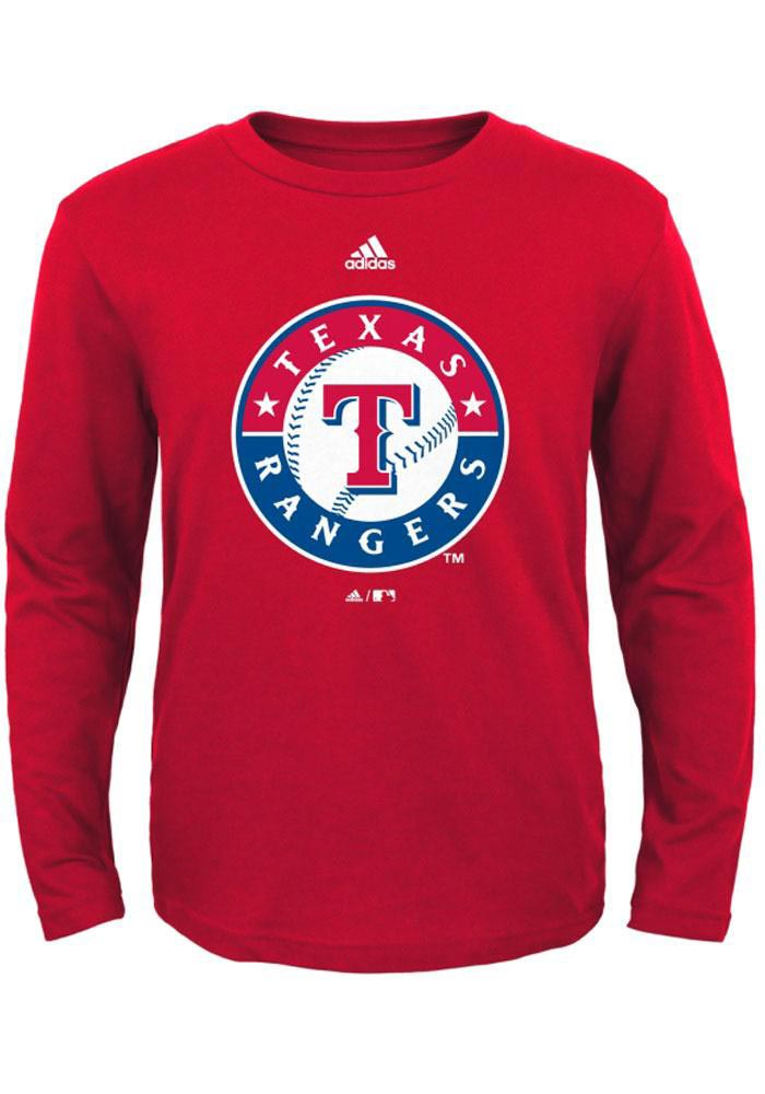 Texas Rangers Youth Red Youth Crest Long Sleeve T-Shirt - Image 1