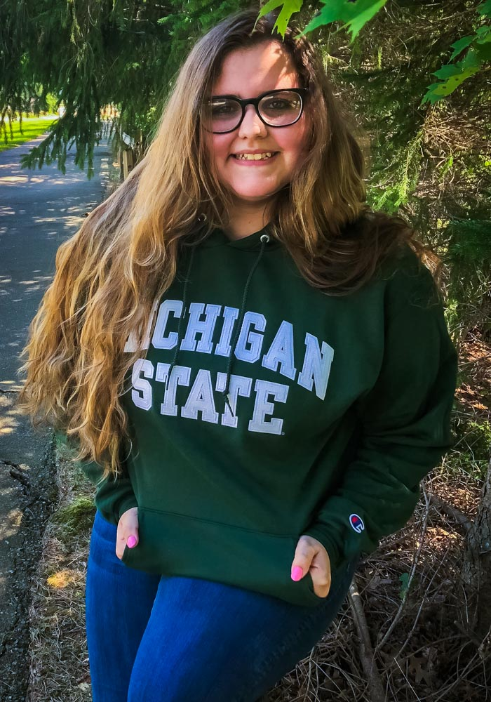 Champion Michigan State Spartans Mens Green Arch Twill Long Sleeve Hoodie - Image 2