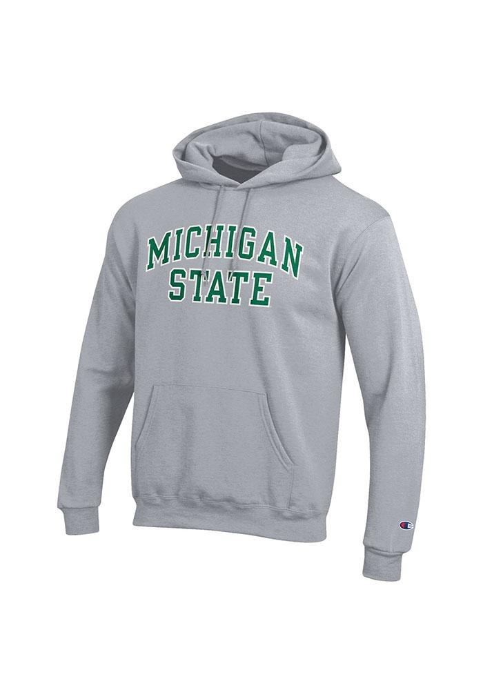 Champion Michigan State Spartans Mens Grey Arch Twill Long Sleeve Hoodie - Image 1