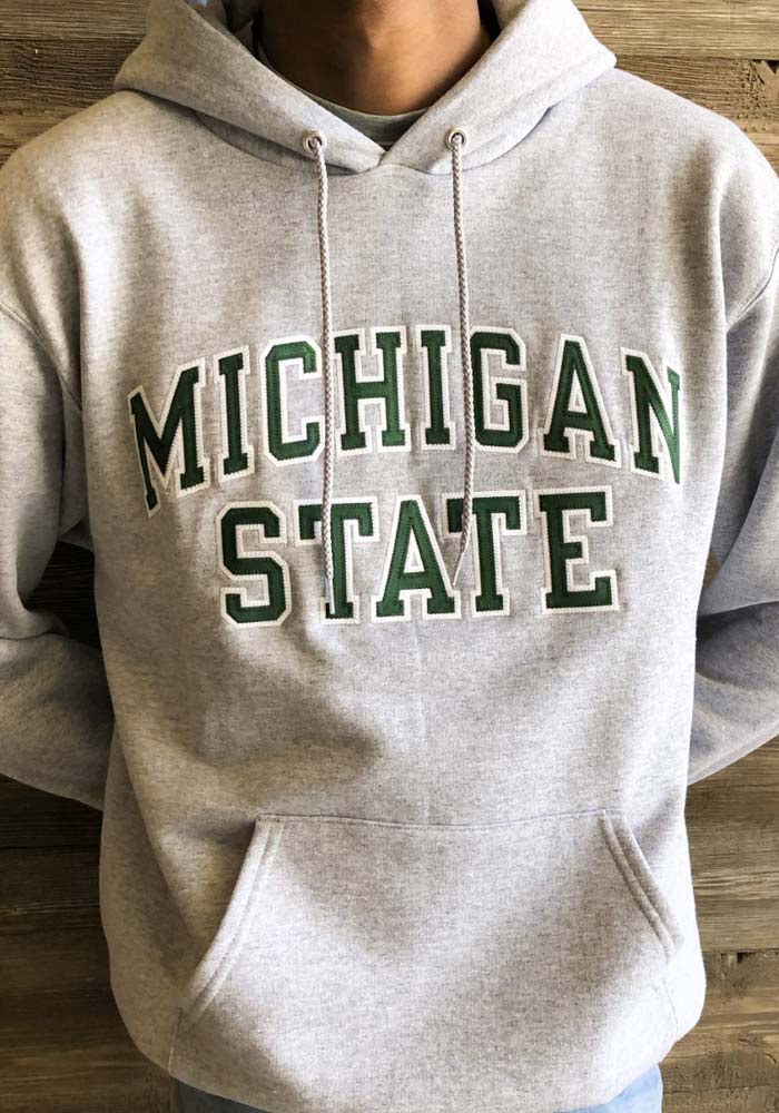 Champion Michigan State Spartans Mens Grey Arch Twill Long Sleeve Hoodie - Image 2