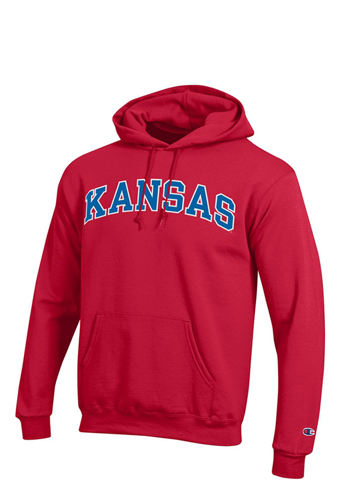 Champion Kansas Jayhawks Mens Red Arch Long Sleeve Hoodie - Image 1