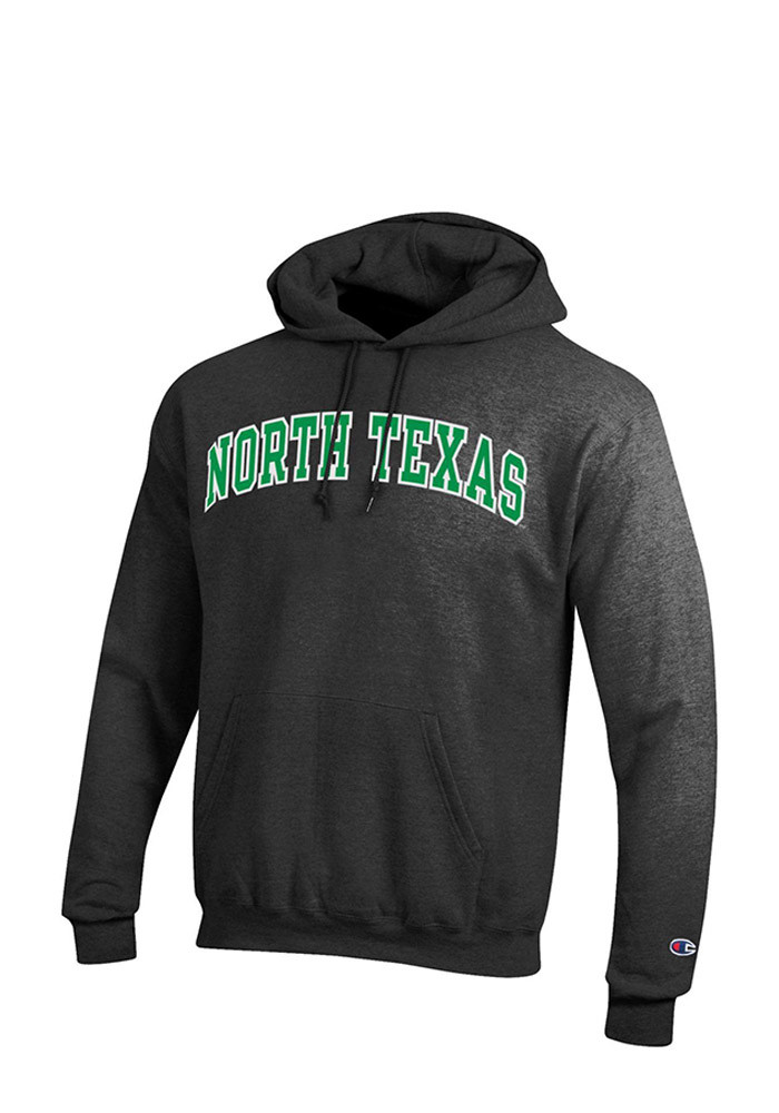 North Texas Mean Green Mens Grey Arch Long Sleeve Hoodie - Image 1