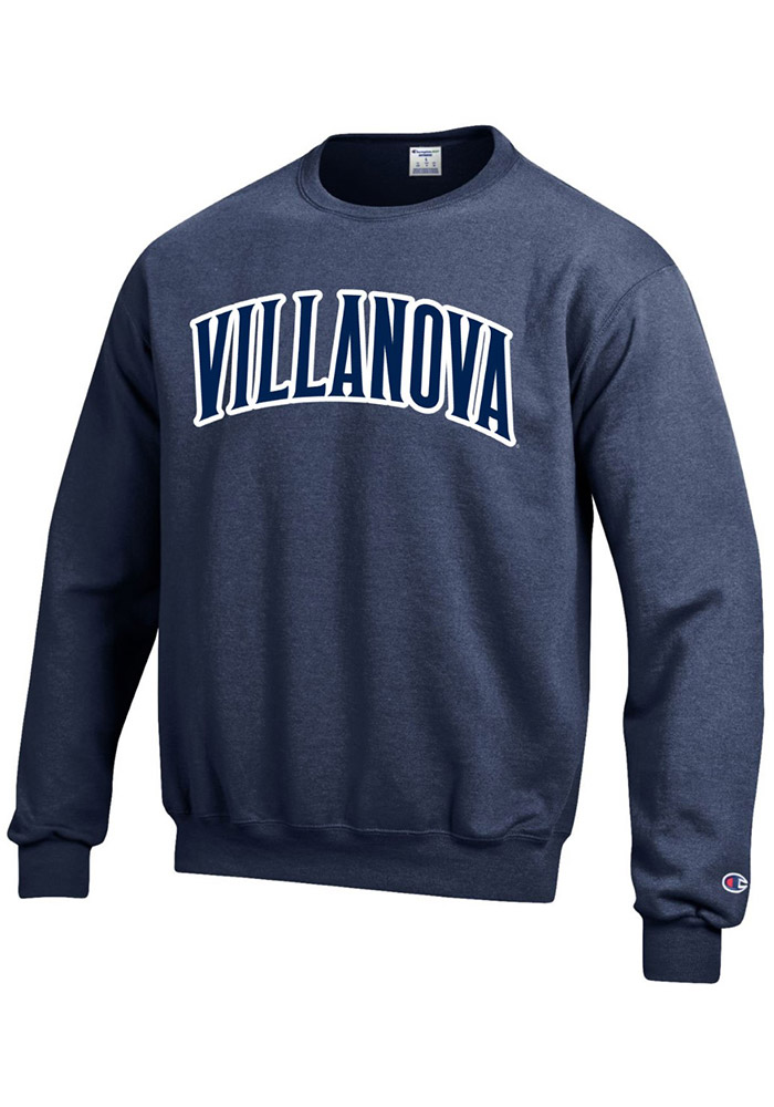 Champion Villanova Wildcats Mens Navy Blue Arch Long Sleeve Crew Sweatshirt - Image 1