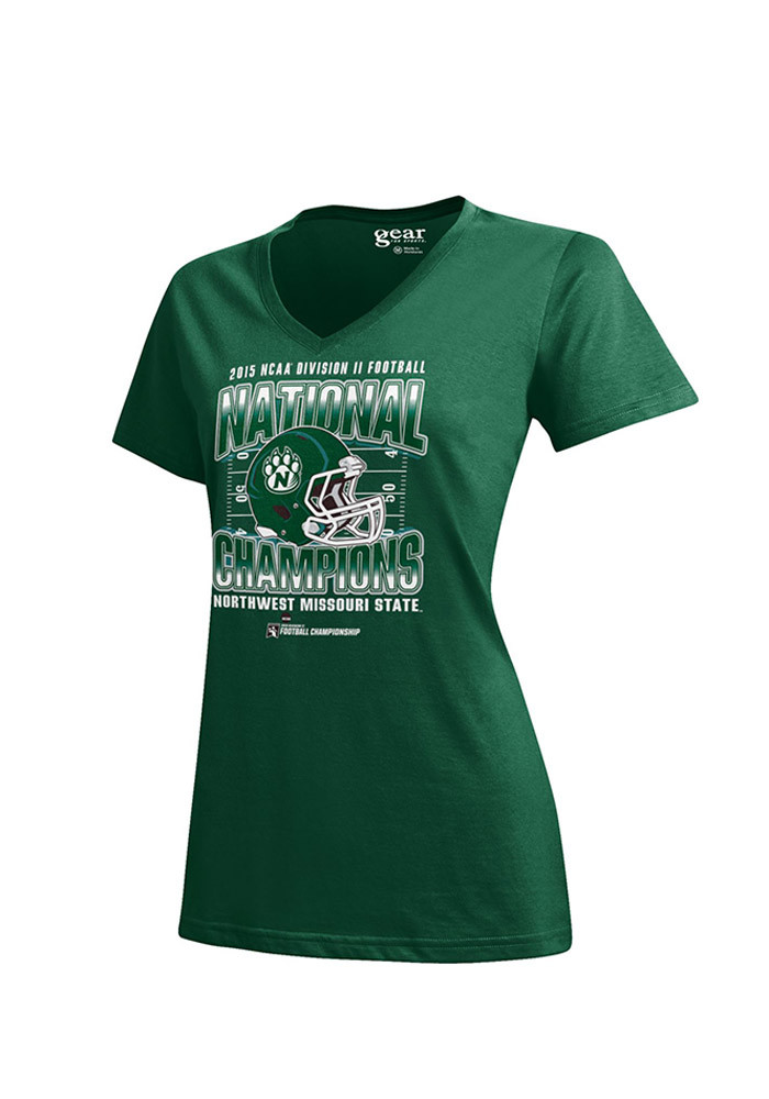 Northwest Missouri State Bearcats Womens Green Locker Room V-Neck T-Shirt - Image 1