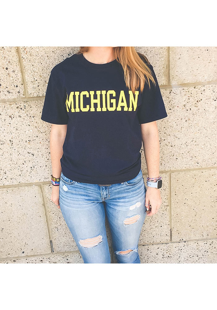 Champion Michigan Wolverines Navy Blue Rally Loud Short Sleeve T Shirt - Image 2