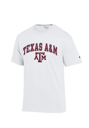 Texas A&M Mens White Arch Mascot Tee