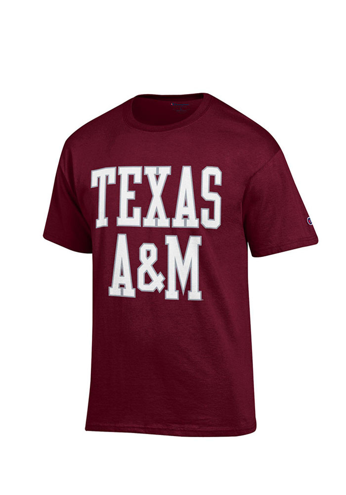 Champion Texas A&M Aggies Maroon Wordmark Short Sleeve T Shirt - Image 1