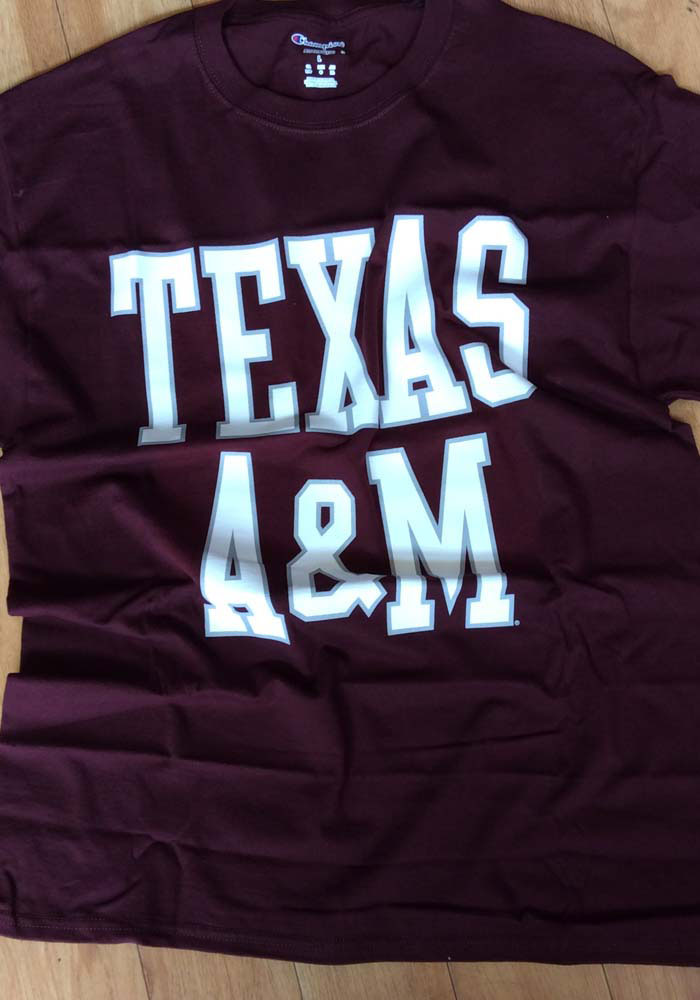 Champion Texas A&M Aggies Maroon Wordmark Short Sleeve T Shirt - Image 2