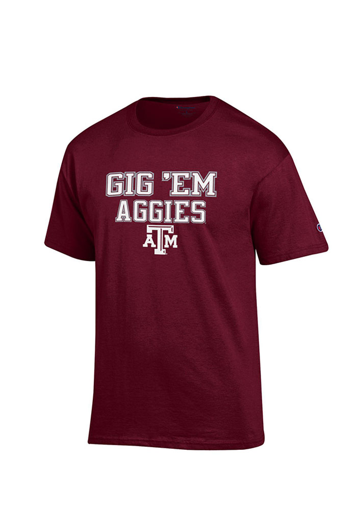 Champion Texas A&M Aggies Maroon Slogan Short Sleeve T Shirt - Image 1