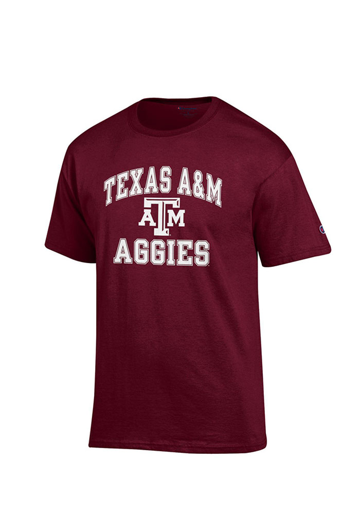 Champion Texas A&M Aggies Maroon Number 1 Short Sleeve T Shirt - Image 1