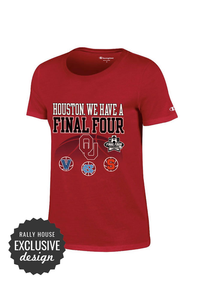 Oklahoma Sooners Womens Grey Houston We Have A Final 4 Short Sleeve Crew T-Shirt - Image 1