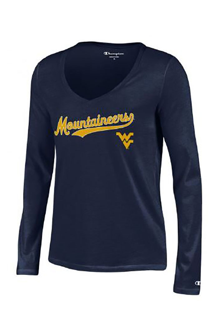 West Virginia Mountaineers Womens Navy Blue Swept Long Sleeve T-Shirt - Image 1