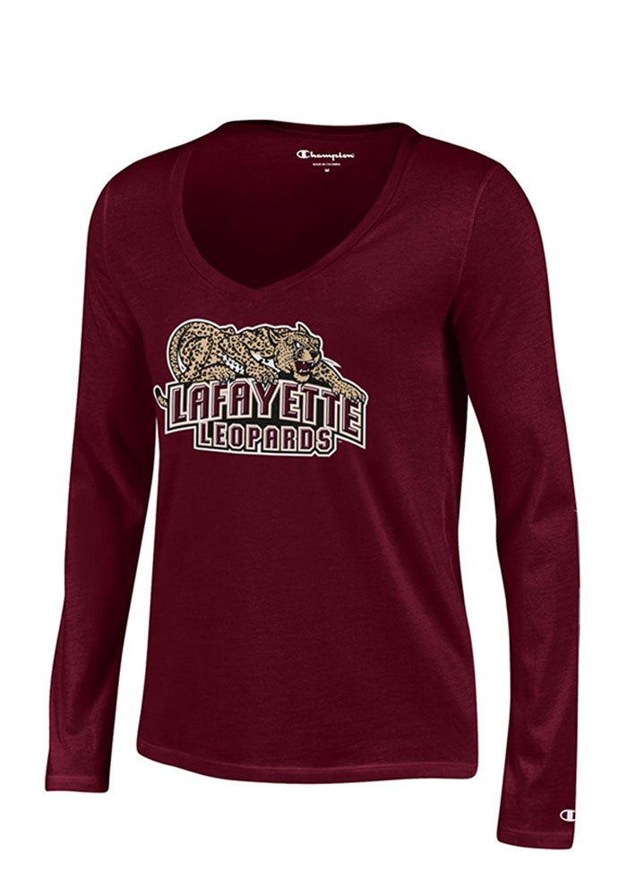 Lafayette College Juniors Maroon Swept Long Sleeve T-Shirt - Image 1