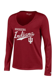Indiana Womens Red Campus Script T-Shirt
