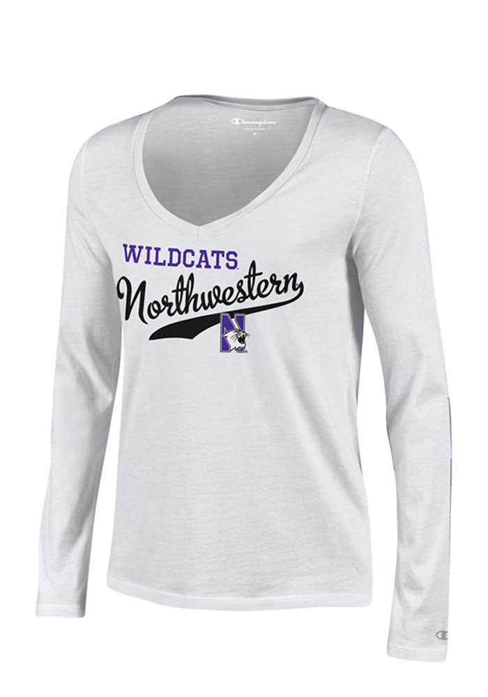 Northwestern Wildcats Womens White Campus Script Long Sleeve T-Shirt - Image 1