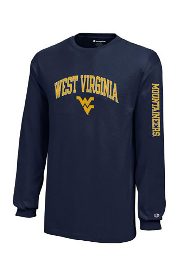 West virginia mountaineers youth navy blue jersey long for Uva long sleeve t shirt