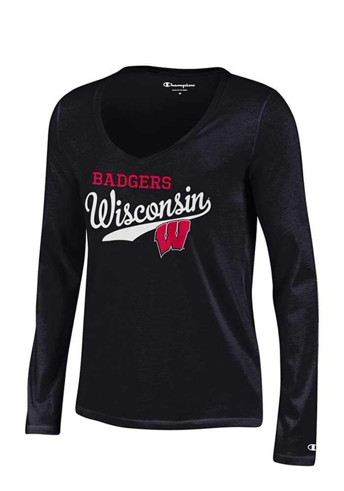 Wisconsin Badgers Juniors Black Campus Script Long Sleeve T-Shirt - Image 1