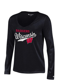 Wisconsin Badgers Juniors Black Campus Script T-Shirt
