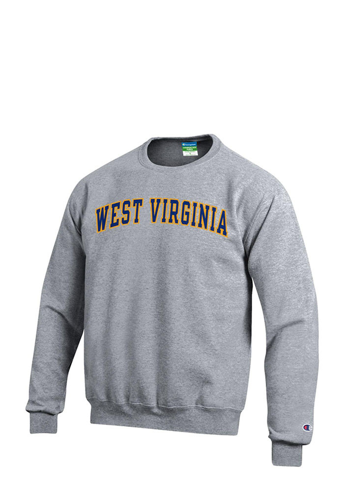 West Virginia Mountaineers Mens Grey Twill Long Sleeve Crew Sweatshirt - Image 1