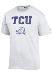 Horned Frogs Mens White Arch Mascot Tee