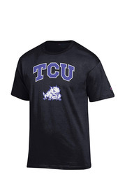 Horned Frogs Mens Black Arch Mascot Tee