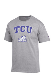 Horned Frogs Mens Grey Arch Mascot Tee