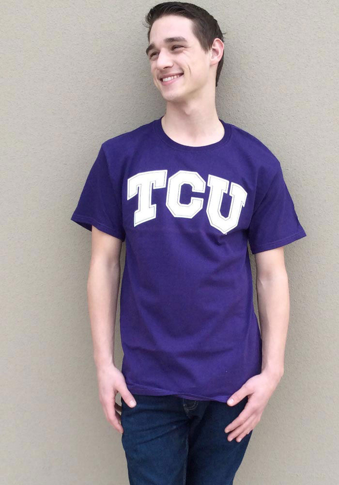 TCU Horned Frogs Purple Big Logo Short Sleeve T Shirt - Image 2