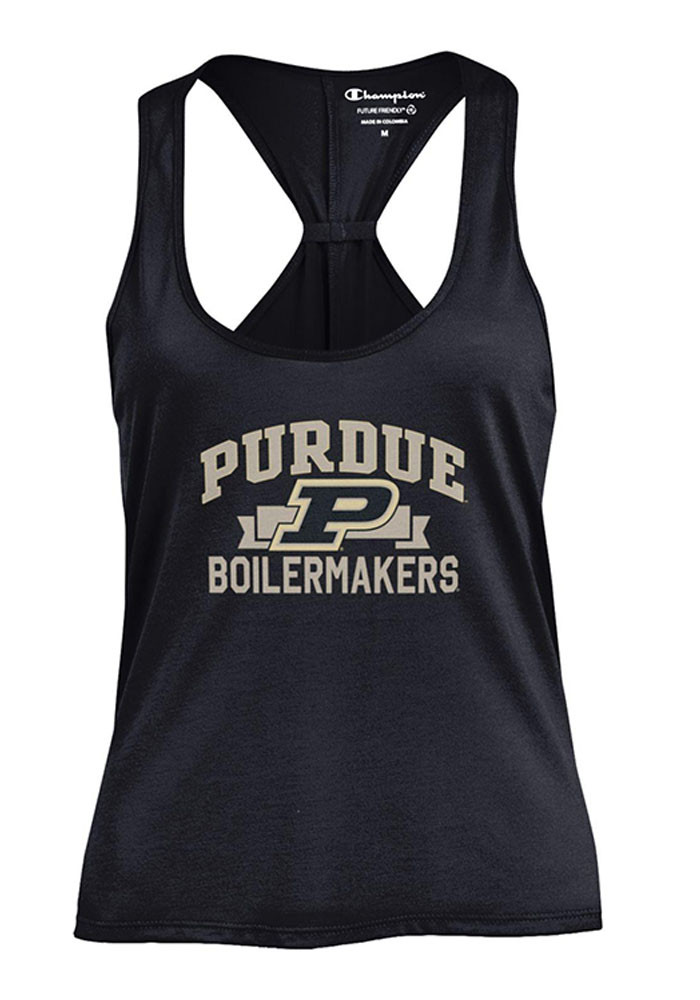Purdue Boilermakers Womens Black Swing Tank Top - Image 1