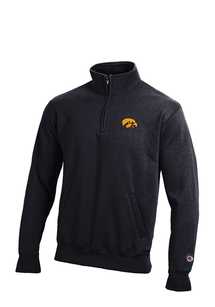 Champion Iowa Hawkeyes Mens Black Logo Long Sleeve 1/4 Zip Pullover, Black, 50% Cotton / 50% Polyester, Size M