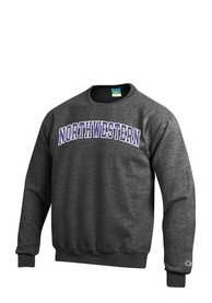 Northwestern Wildcats Champion Twill Crew Sweatshirt - Grey