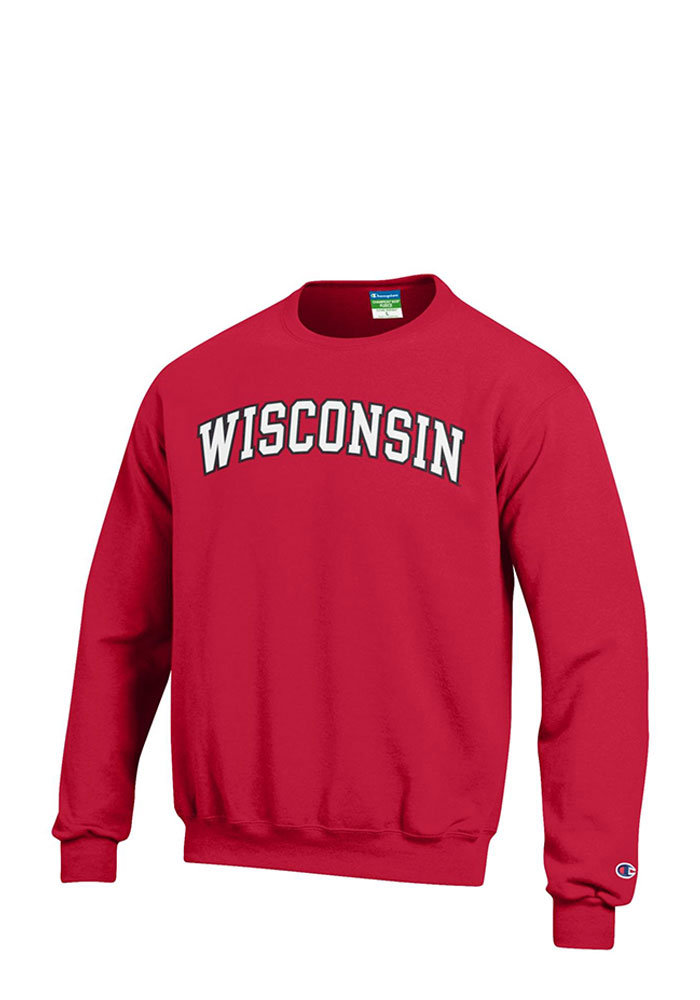 9cb0902a6789 Champion Wisconsin Badgers Mens Red Twill Long Sleeve Crew Sweatshirt -  Image 1