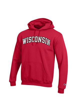 Wisconsin Badgers Mens Red Twill Hoodie