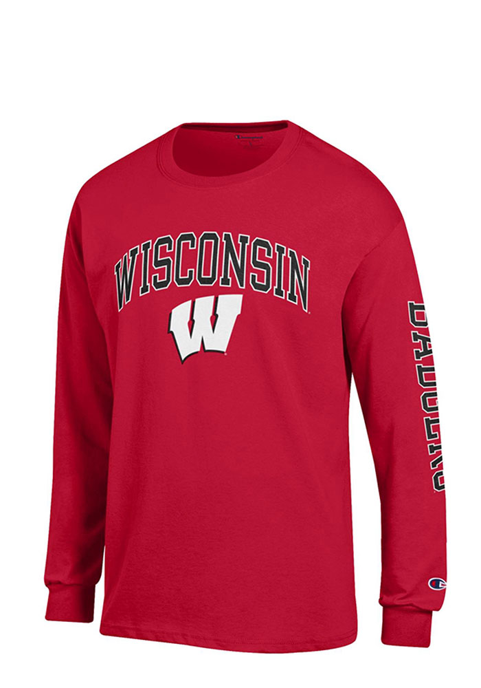Champion Wisconsin Badgers Mens Red Arch Logo Long Sleeve T Shirt, Red, 100% COTTON, Size XL