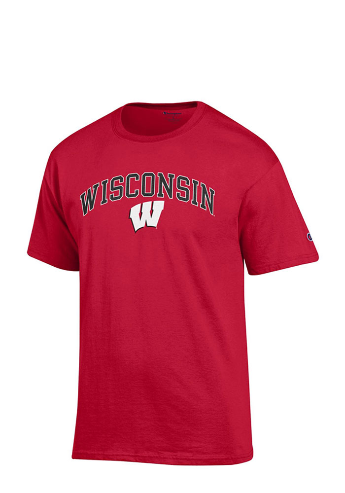 Champion Wisconsin Badgers Mens Red Arch Mascot Short Sleeve T Shirt - Image 1