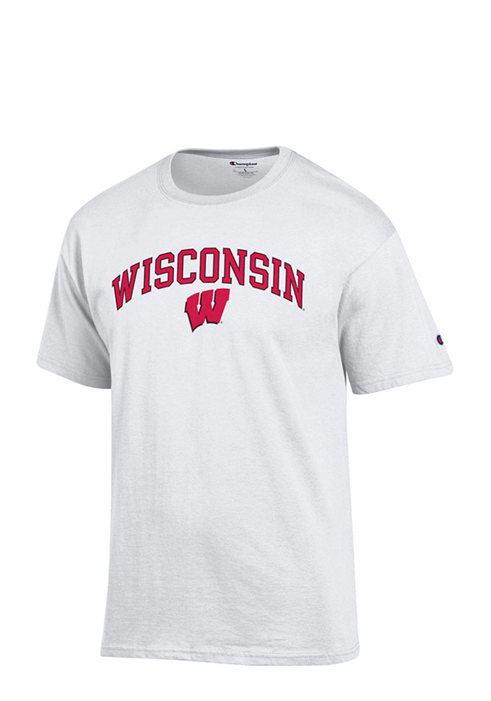 Champion Wisconsin Badgers White Arch Mascot Short Sleeve T Shirt - Image 1