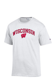 Champion Wisconsin Badgers White Arch Mascot Tee