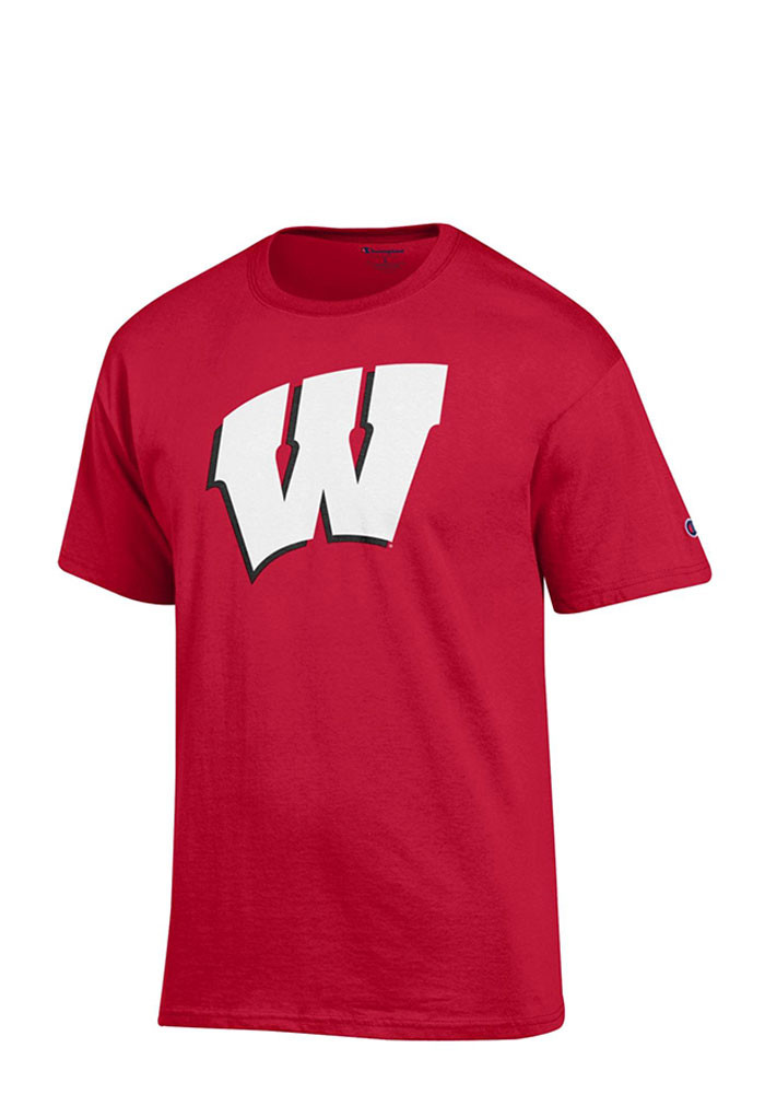 Champion Wisconsin Badgers Mens Red Big Logo Short Sleeve