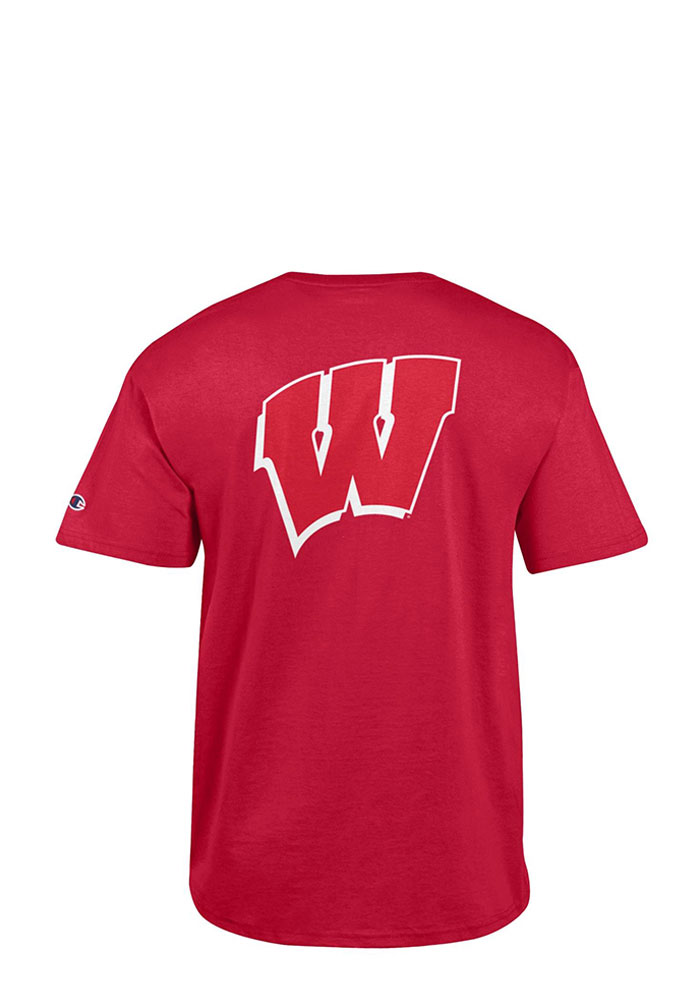 Champion Wisconsin Badgers Mens Red Rally Loud Short Sleeve T Shirt - Image 1