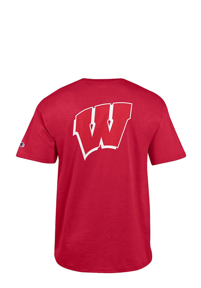 Champion wisconsin badgers mens red rally loud short for Mens wisconsin badger shirts