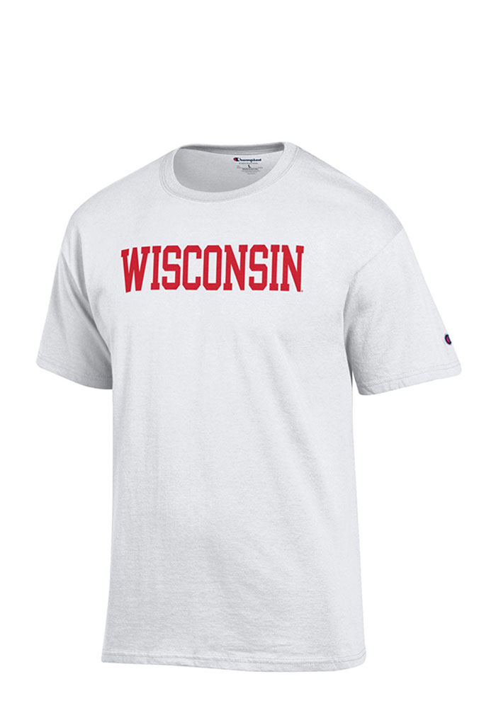 Champion Wisconsin Badgers White Rally Loud Short Sleeve T Shirt - Image 1