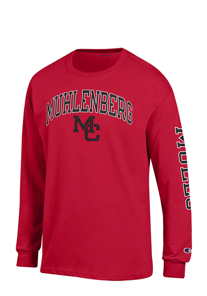 Champion Muhlenberg College Mens Red Logo Long Sleeve T Shirt, Red, 100% COTTON, Size XL
