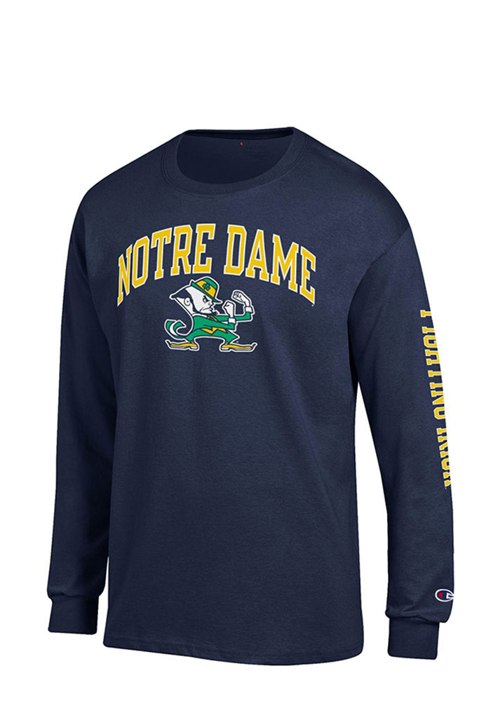 Champion Notre Dame Fighting Irish Mens Navy Blue Name and Logo Long Sleeve T Shirt, Navy Blue, 100% COTTON, Size M