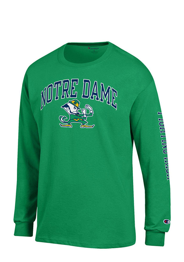 Champion Notre Dame Fighting Irish Mens Green Name and Logo Long Sleeve T Shirt, Green, 100% COTTON, Size L