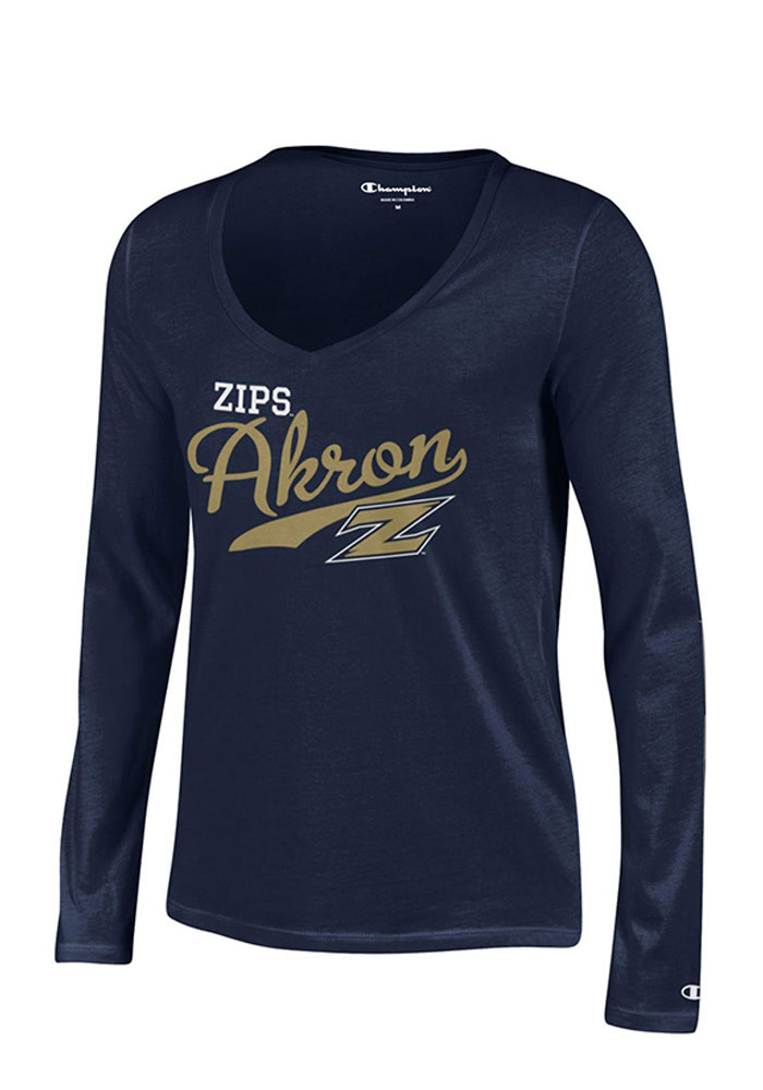 Akron Zips Juniors Navy Blue Campus Script Long Sleeve T-Shirt - Image 1