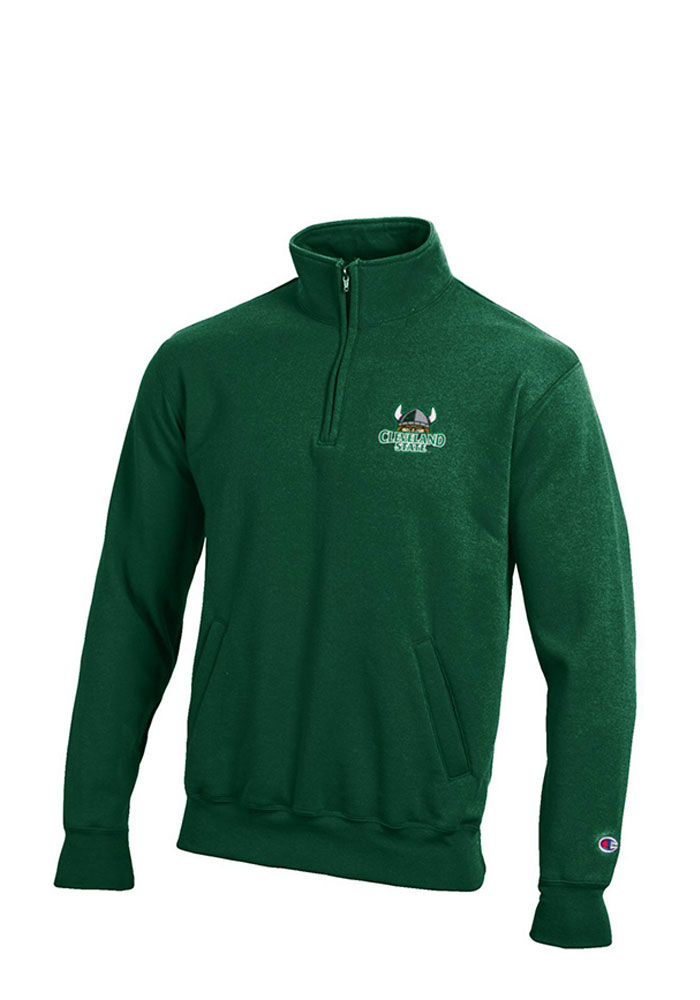 Champion Cleveland State Vikings Mens Green Fleece Long Sleeve 1/4 Zip Pullover, Green, 50% Cotton / 50% Polyester, Size L