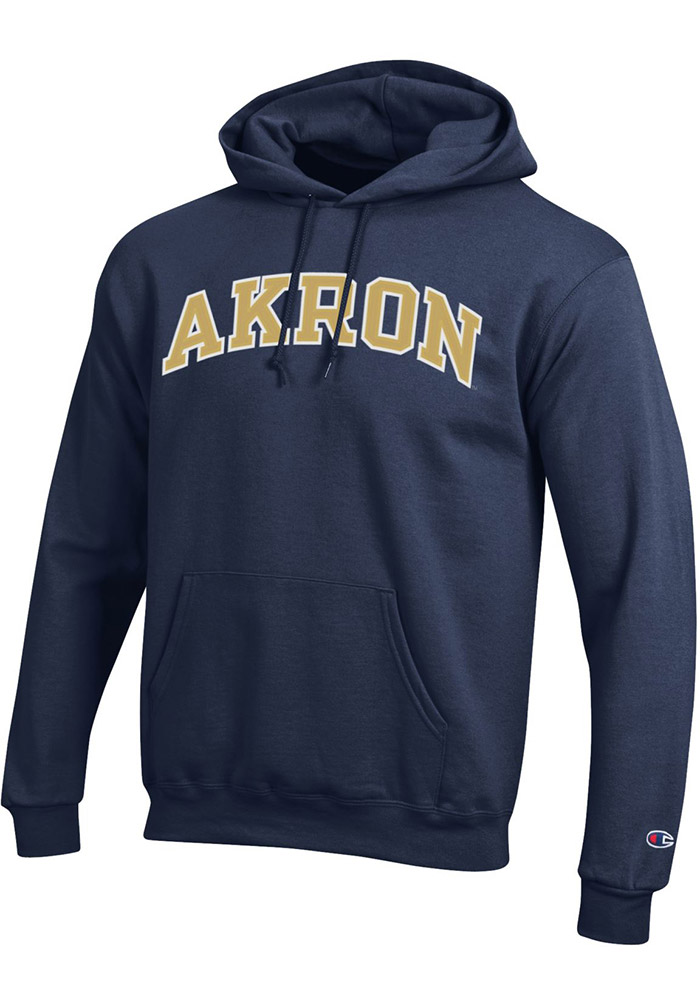 Champion Akron Zips Mens Navy Blue Fleece Long Sleeve Hoodie, Navy Blue, 50% Cotton / 50% Polyester, Size L