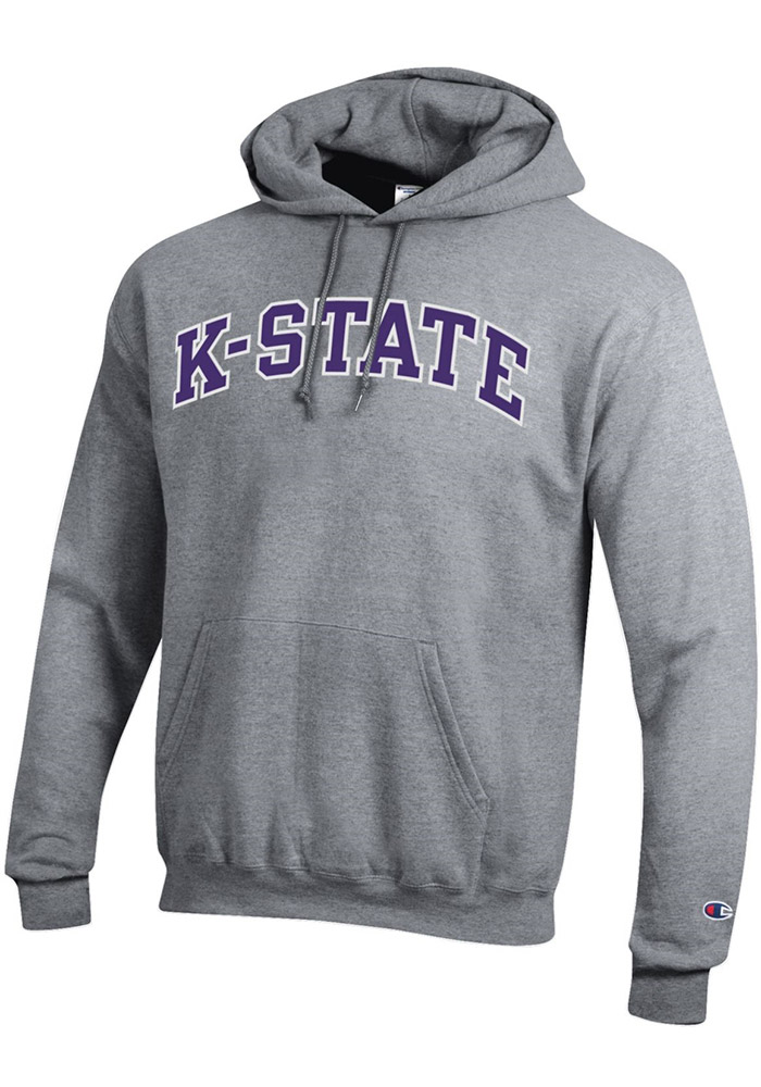 Champion K-State Wildcats Mens Grey Arch Twill Long Sleeve Hoodie - Image 1