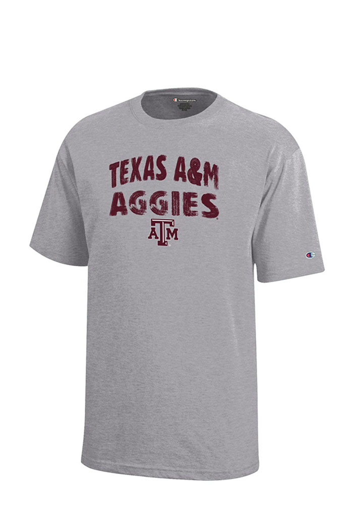 Texas A&M Aggies Youth Grey Arch Short Sleeve T-Shirt - Image 1