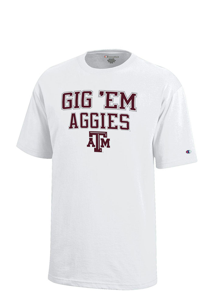 Texas A&M Aggies Youth White Gig 'Em Short Sleeve T-Shirt - Image 1