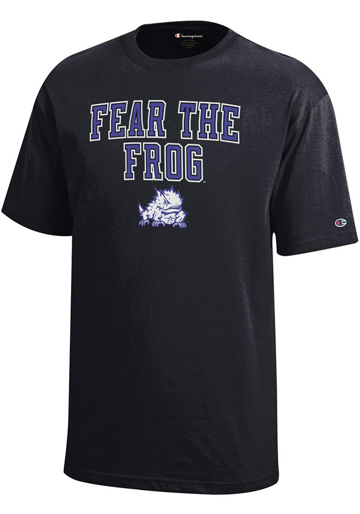 TCU Horned Frogs Youth Black Fear the Frog Short Sleeve T-Shirt - Image 1
